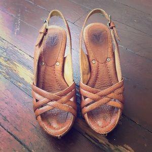 Frye heeled clogs